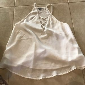 Charlotte Russe Strappy White Cross-Neck Tank